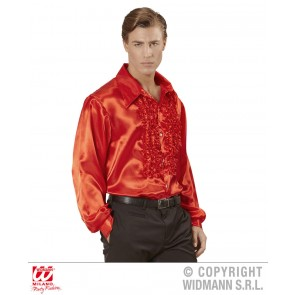Blouse rouchen satijn, Rood