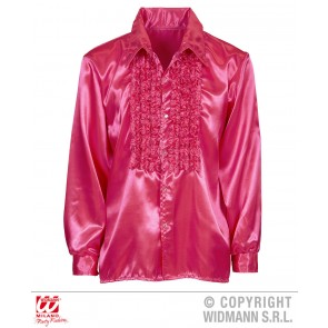 Rouchen blouse satijn, Rose