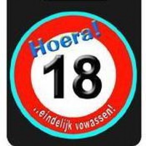 Hoera 18 button