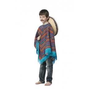 Mexicaanse Poncho Blauw