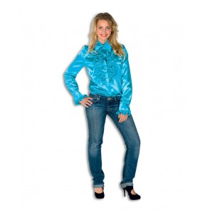 Dames Ruche Blouse Turkoois