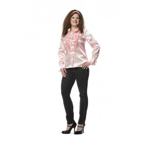 Dames Ruche Blouse Baby Rose