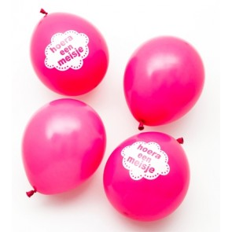 Geboorte meisje roze ballonnen