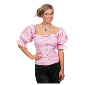 Blouse Tiroolse Roze Wit