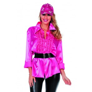 Ruchesblouse satijn cylaam rose