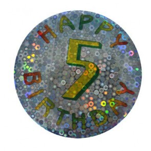 5 jaar button