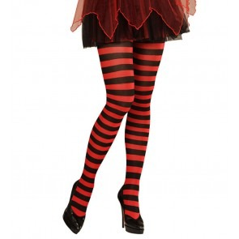 Een rode met zwarte gestreepte panty. Leuk voor onder een kort jurkje of rokje tijdens themafeesten en verkleedpartijen.