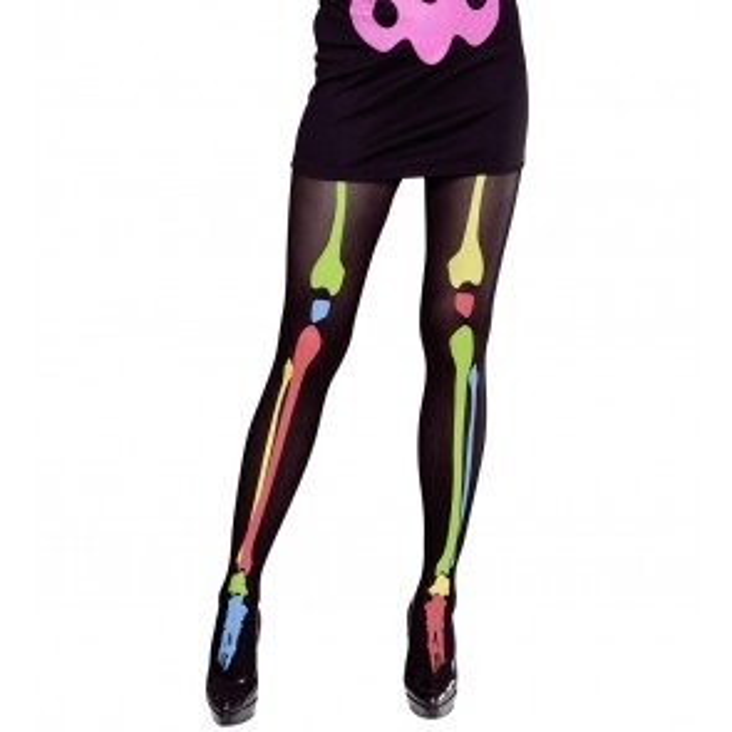 Een neon skelet panty. Leuk om mee te griezelen tijdens themafeesten en verkleedpartijen.