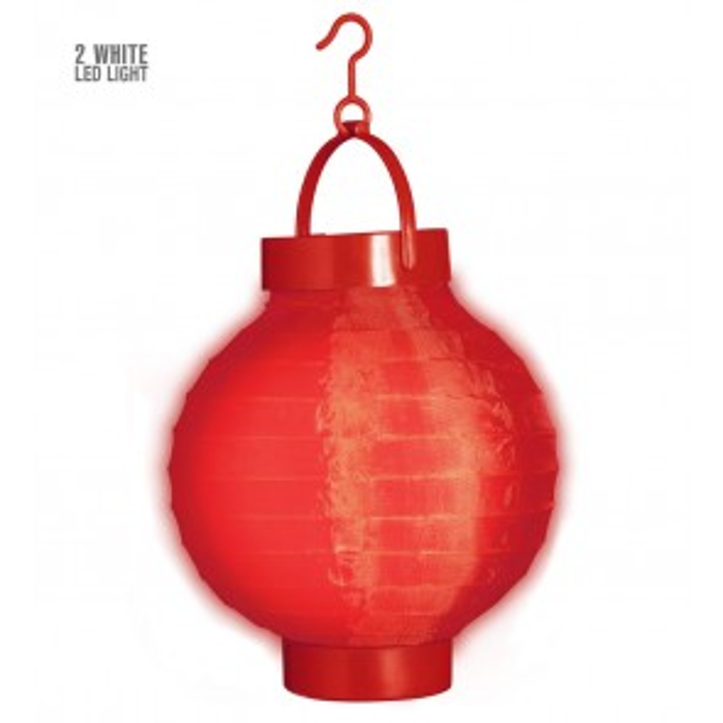 Lampion met licht rood
