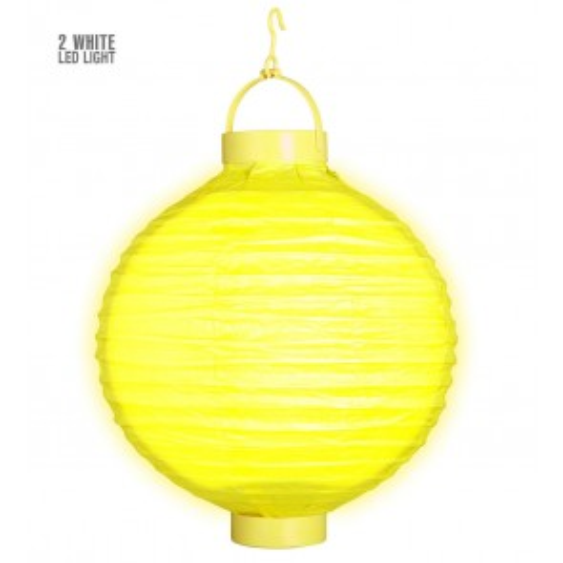 Gele lampion met licht 30 CM