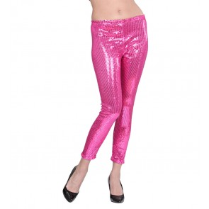 PAILLETTEN LEGGING ROSE L