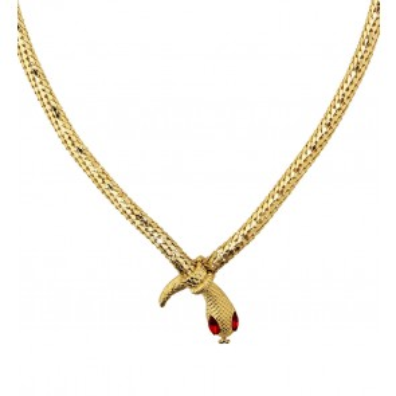 Ketting slang van goud met rode steen ogen