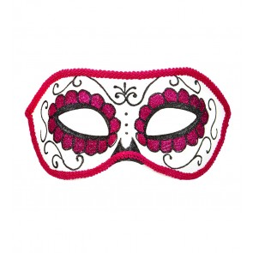 Oogmasker Dia de los Muertos, Zwart/Roze