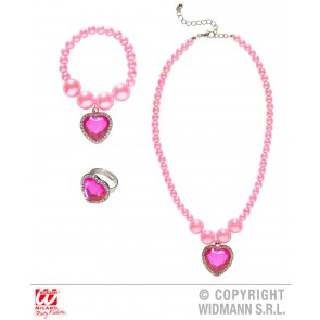 KETTING, ARMBAND, RING STRASS HART ROSE