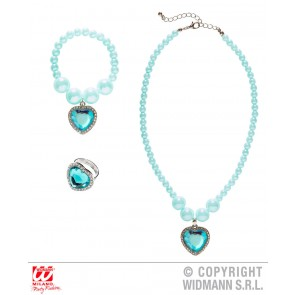 KETTING, ARMBAND, RING STRASS HART AZUUR BLAUW