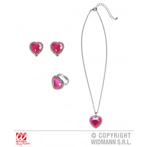 KETTING, OORBELLEN, ARMBAND STRASS ROSE
