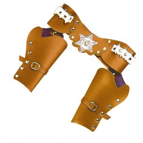 Luxe dubbel holster cowboy, bruin