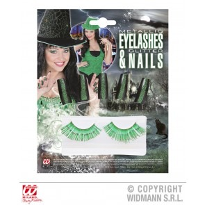 Set wimpers en nagels, groen