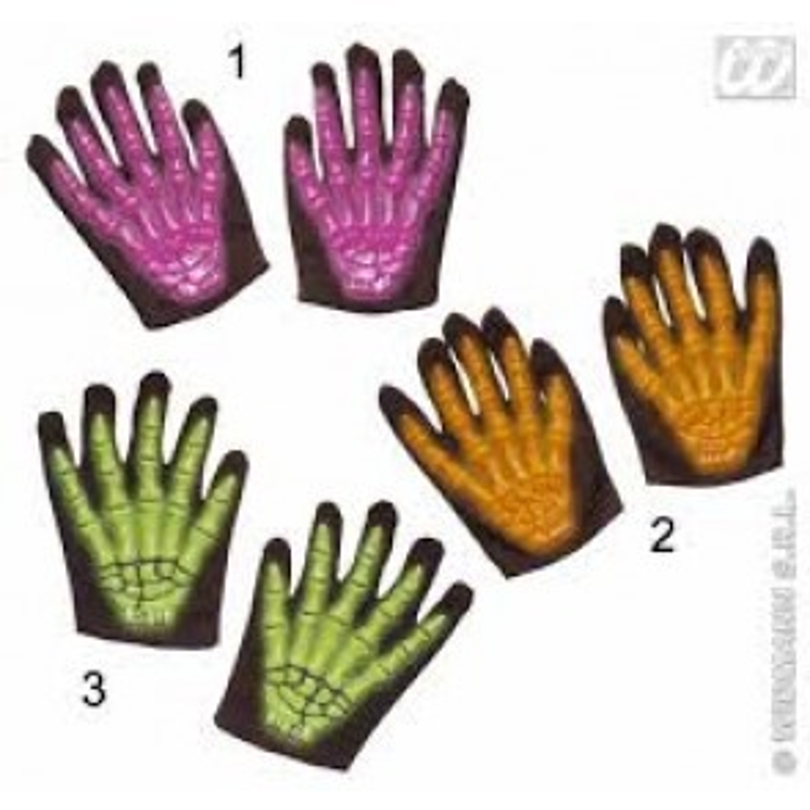 Skelethandschoenen 3D neon, licht in donker, 3 kleuren assortiment (Geel, Oranje, Paars)