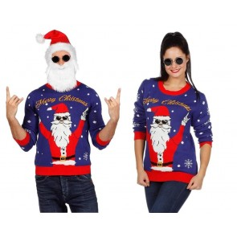 Kersttrui blauw rocking Santa Maat XL